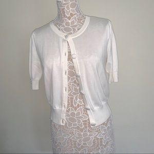 Willi Smith White Short Sleeve Cardigan Sweater
